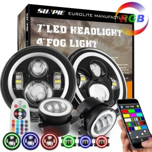 SUNPIE 7 LED Headlights with RGB Halo 4 LED Fog Lights review