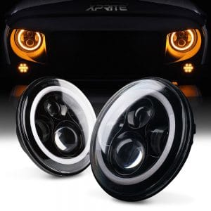 Xprite 7 Inch LED Halo Headlights with Halo Ring Angel Eyes DRL review