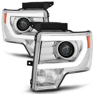 Ford F-150 Light Duty Pickup Chrome Clear C-Shape LED light Tube Projector Headlights Review