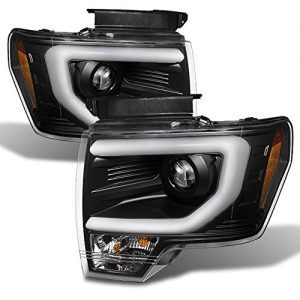 Ford F150 Black Bezel DRL Daylight LED Strip Halogen Type Projector Headlights Review